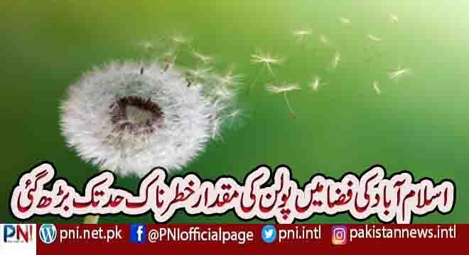 اسلام آباد کی فضا میں پولن کی مقدار خطرناک حد تک بڑھ گئی